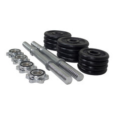 360 Ongsa 15 KG BLACK DUMBBELL SET - T Bar with Rubber