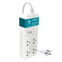 Anitech ปลั๊กไฟ มอก. 4 ช่อง 2 USB 1 สวิทช์ รุ่น H624-BL