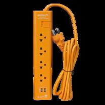 Anitech ปลั๊กไฟ มอก.4ช่อง 1 สวิทช์ 2USB รุ่น H5134-OR
