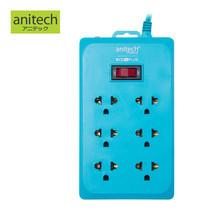 ANITECH รางปลั๊กไฟ 6 ช่อง 1 สวิตช์ รุ่น H160-BL - Blue