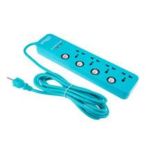 ANITECH รางปลั๊กไฟ 4 ช่อง 4 สวิตช์+USB 2 พอร์ต 2.4A รุ่น H564 - Blue (สาย 3 เมตร)