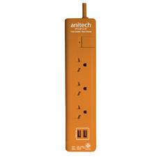 Anitech ปลั๊กไฟ มอก.4ช่อง 1 สวิทช์ 2USB รุ่น H5133-OR