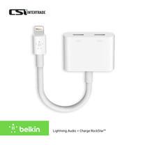 Belkin อะแดปเตอร์เพิ่มพอร์ต ชาร์จ ฟัง คุย สำหรับ iPad iPhone Lightning Audio + Charge RockStar™ F8J198btWHT