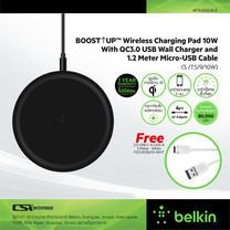 Belkin แท่นชาร์จโทรศัพท์แบบ Wireless Charge (5 /7.5/9/10W) สายยาว 1.5 เมตร พร้อมอแดปเตอร์ - F7U082jcBLK Free สายชาร์จมือถือ USB-C สีขาว 1.2เมตร