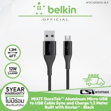 สายชาร์จ Belkin Mixit DuraTek Aluminum Micro-USB to USB Cable Sync and Charge 1.2 m Built with Kevlar 1.2 m - Black F2CU051bt04-BLK