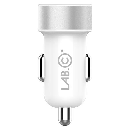 LAB.C ที่ชาร์จมือถือในรถยนต์ Dual USB Car Charger A.L 3.4A - White Silver