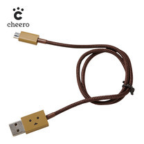 สายชาร์จโทรศัพท์ Cheero DANBOARD USB CABLE with micro USB Light Brown