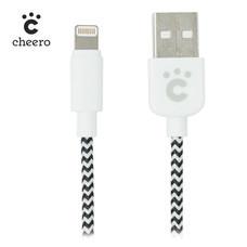 สายชาร์จโทรศัพท์ Cheero Fabric braided USB cable with Lightning Black & White