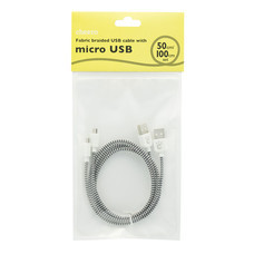 สายชาร์จโทรศัพท์ Cheero Fabric braided USB cable with Micro 50 cm/100 cm set - Black & White