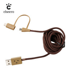 สายชาร์จโทรศัพท์ Cheero DANBOARD USB CABLE with Lightning & micro USB Light Brown