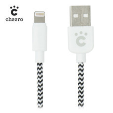 สายชาร์จโทรศัพท์ Cheero Fabric braided USB cable with Lightning Black & White