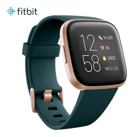 Fitbit Versa 2 (NFC) Smart Watch - Emerald/Copper Rose