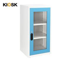 KIOSK ตู้บานเปิดกระจกทรงสูง 2 ชั้น รุ่น Uni-box Double-Box Glass Door พร้อมชั้นวาง 2 ชั้น + กุญแจล็อค (ปรับระดับได้) - BO-Blue Ocean