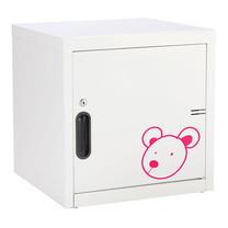 KIOSK ตู้บานเปิดทึบเล็ก มีลวดลาย รุ่น Uni-line Steel Door พร้อมชั้นวาง 1 + กุญแจล็อค (ถอดชั้นวางได้) - ลาย Bear