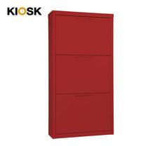 KIOSK ตู้รองเท้าบานสวิง 3 ลิ้นชัก รุ่น Swing (วางรองเท้าได้ 18 คู่) - RD-Red