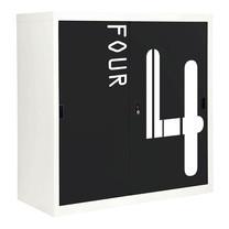 KIOSK ตู้บานเลื่อนทึบทรงสูง มีลวดลาย รุ่น Uni-line Sliding Door Cabinet พร้อมชั้นวาง 2 ชั้น + กุญแจล็อค (ปรับระดับได้) - ลาย Number