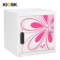 KIOSK ตู้บานเปิดทึบเล็ก มีลวดลาย รุ่น Uni-line Steel Door พร้อมชั้นวาง 1 + กุญแจล็อค (ถอดชั้นวางได้) - ลาย Magenta