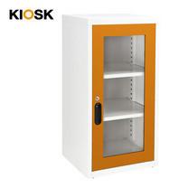 KIOSK ตู้บานเปิดกระจกทรงสูง 2 ชั้น รุ่น Uni-box Double-Box Glass Door พร้อมชั้นวาง 2 ชั้น + กุญแจล็อค (ปรับระดับได้) - OR-Orange