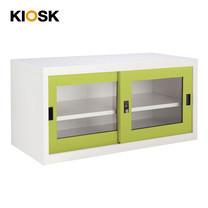 KIOSK ตู้บานเลื่อนกระจกทรงเตี้ย รุ่น Uni-box S-box Glass Door พร้อมชั้นวาง 1 ชั้น + กุญแจล็อค (ถอดชั้นวางได้) - GR-Green
