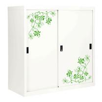 KIOSK ตู้บานเลื่อนทึบทรงสูง มีลวดลาย รุ่น Uni-line Sliding Door Cabinet พร้อมชั้นวาง 2 ชั้น + กุญแจล็อค (ปรับระดับได้) - ลาย Vintage