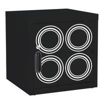 KIOSK ตู้บานเปิดทึบเล็ก มีลวดลาย รุ่น Uni-line Steel Door พร้อมชั้นวาง 1 + กุญแจล็อค (ถอดชั้นวางได้) - ลาย Circle