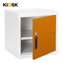 KIOSK ตู้บานเปิดทึบเล็ก รุ่น Uni-box Steel Door พร้อมชั้นวาง 1 ชั้น + กุญแจล็อค (ถอดชั้นวางได้) - OR-Orange
