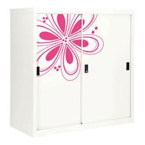 KIOSK ตู้บานเลื่อนทึบทรงสูง มีลวดลาย รุ่น Uni-line Sliding Door Cabinet พร้อมชั้นวาง 2 ชั้น + กุญแจล็อค (ปรับระดับได้) - Magenta