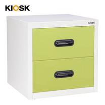 KIOSK ตู้เล็ก 2 ลิ้นชัก รุ่น Uni-box 2 Drawers พร้อมระบบรางเลื่อน (Ball Bearing Runner System) - GR-Green