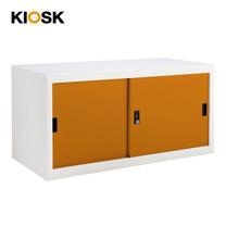 KIOSK ตู้บานเลื่อนทึบทรงเตี้ย รุ่น Uni-box S-box Steel Door พร้อมชั้นวาง 1 ชั้น + กุญแจล็อค (ถอดชั้นวางได้) - OR-Orange