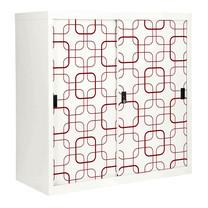 KIOSK ตู้บานเลื่อนทึบทรงสูง มีลวดลาย รุ่น Uni-line Sliding Door Cabinet พร้อมชั้นวาง 2 ชั้น + กุญแจล็อค (ปรับระดับได้) - ลาย Retro