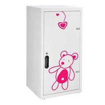 KIOSK ตู้บานเปิดทรงสูง มีลวดลาย รุ่น Uni-line Double-Box Seel Door พร้อมชั้นวาง 2 ชั้น + กุญแจล็อค (ปรับระดับได้) - ลาย Bear