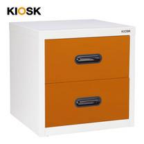 KIOSK ตู้เล็ก 2 ลิ้นชัก รุ่น Uni-box 2 Drawers พร้อมระบบรางเลื่อน (Ball Bearing Runner System) - OR-Orange