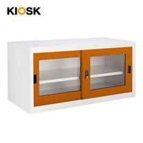 KIOSK ตู้บานเลื่อนกระจกทรงเตี้ย รุ่น Uni-box S-box Glass Door พร้อมชั้นวาง 1 ชั้น + กุญแจล็อค (ถอดชั้นวางได้) - OR-Orange