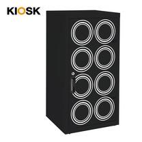 KIOSK ตู้บานเปิดทรงสูง มีลวดลาย รุ่น Uni-line Double-Box Seel Door พร้อมชั้นวาง 2 ชั้น + กุญแจล็อค (ปรับระดับได้) - ลาย Circle