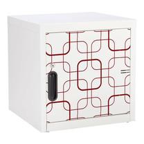 KIOSK ตู้บานเปิดทึบเล็ก มีลวดลาย รุ่น Uni-line Steel Door พร้อมชั้นวาง 1 + กุญแจล็อค (ถอดชั้นวางได้) - ลาย Retro