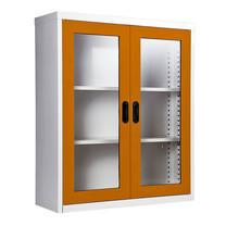 KIOSK ตู้วางหนังสือขนาดกลาง 2 บานเปิดมีกระจก รุ่น Maxbook Half Height 2 Glass Doors Cabinet พร้อมชั้นวาง 2 ชั้น (ปรับระดับได้) - OR-Orange