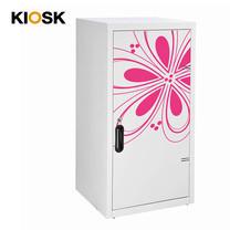 KIOSK ตู้บานเปิดทรงสูง มีลวดลาย รุ่น Uni-line Double-Box Seel Door พร้อมชั้นวาง 2 ชั้น + กุญแจล็อค (ปรับระดับได้) - ลาย Magenta