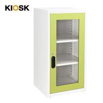 KIOSK ตู้บานเปิดกระจกทรงสูง 2 ชั้น รุ่น Uni-box Double-Box Glass Door พร้อมชั้นวาง 2 ชั้น + กุญแจล็อค (ปรับระดับได้) - GR-Green