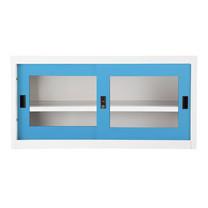 KIOSK ตู้บานเลื่อนกระจกทรงเตี้ย รุ่น Uni-box S-box Glass Door พร้อมชั้นวาง 1 ชั้น + กุญแจล็อค (ถอดชั้นวางได้) - BO-Blue Ocean