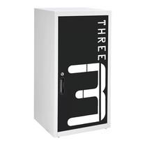 KIOSK ตู้บานเปิดทรงสูง มีลวดลาย รุ่น Uni-line Double-Box Seel Door พร้อมชั้นวาง 2 ชั้น + กุญแจล็อค (ปรับระดับได้) - ลาย Number