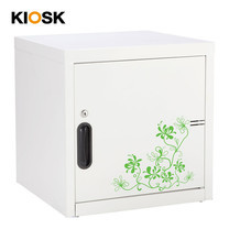 KIOSK ตู้บานเปิดทึบเล็ก มีลวดลาย รุ่น Uni-line Steel Door พร้อมชั้นวาง 1 + กุญแจล็อค (ถอดชั้นวางได้) - ลาย Vintage