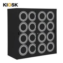 KIOSK ตู้บานเลื่อนทึบทรงสูง มีลวดลาย รุ่น Uni-line Sliding Door Cabinet พร้อมชั้นวาง 2 ชั้น + กุญแจล็อค (ปรับระดับได้) - ลาย Circle
