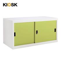 KIOSK ตู้บานเลื่อนทึบทรงเตี้ย รุ่น Uni-box S-box Steel Door พร้อมชั้นวาง 1 ชั้น + กุญแจล็อค (ถอดชั้นวางได้) - GR-Green