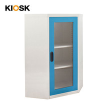 KIOSK ตู้วางหนังสือขนาดกลางแบบเข้ามุม (6 เหลี่ยม) หน้ากระจก รุ่น Maxbook Half Height 1 Glass Door Corner Cabinet พร้อมชั้นวาง 2 ชั้น (ปรับระดับได้) - BO-Blue Ocean