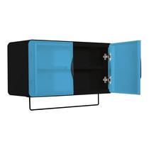 KIOSK ตู้แขวนบานเปิดกว้าง รุ่น Punto - สีดำ/ฟ้า