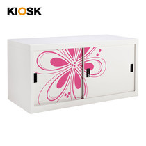 KIOSK ตู้บานเลื่อนทึบเตี้ย มีลวดลาย รุ่น Uni-line Steel Door พร้อมชั้นวาง 1 ชั้น + กุญแจล็อค - ลาย Magenta