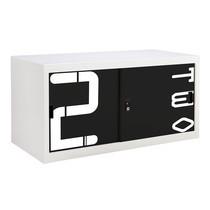 KIOSK ตู้บานเลื่อนทึบเตี้ย มีลวดลาย รุ่น Uni-line Steel Door พร้อมชั้นวาง 1 ชั้น + กุญแจล็อค - ลาย Number