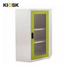 KIOSK ตู้วางหนังสือขนาดกลางแบบเข้ามุม (6 เหลี่ยม) หน้ากระจก รุ่น Maxbook Half Height 1 Glass Door Corner Cabinet พร้อมชั้นวาง 2 ชั้น (ปรับระดับได้) - GR-Green