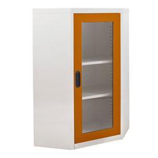 KIOSK ตู้วางหนังสือขนาดกลางแบบเข้ามุม (6 เหลี่ยม) หน้ากระจก รุ่น Maxbook Half Height 1 Glass Door Corner Cabinet พร้อมชั้นวาง 2 ชั้น (ปรับระดับได้) - OR-Orange