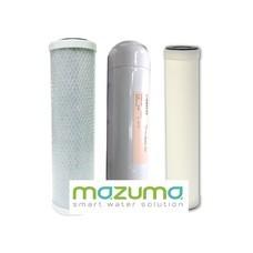 Mazuma ชุดไส้กรอง 3 ไส้กรอง Carbon Block, Resin, Ceramic